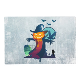 Halloween Haunted Scarecrow With Bats Crow And Owl Placemat