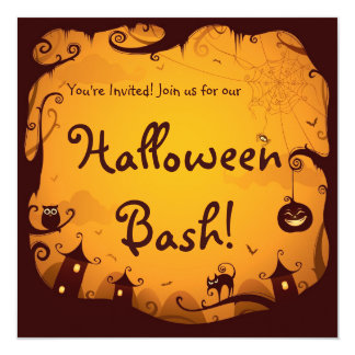 Halloween Haunted Town and Woods Card