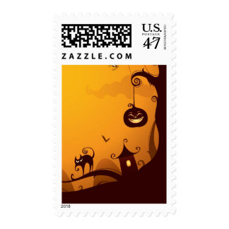 Halloween Haunted Town and Woods Postage Stamp