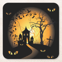 Halloween - Haunting Eyes Watching you Square Paper Coaster