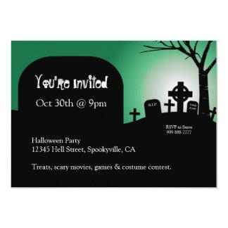 Halloween Headstones Green Glow Invite