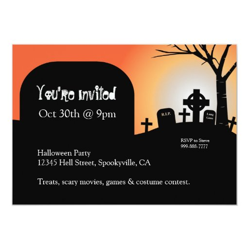 "Halloween Headstones Orange Glow Invite 5"" X 7"" Invitation Card"