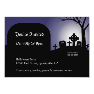Halloween Headstones Purple Glow Invite