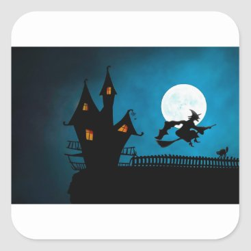 Halloween Themed Halloween Helloween Witch's House The Witch Square Sticker