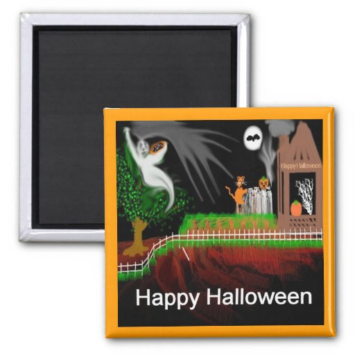 Halloween Hill 2 Inch Square Magnet