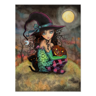 Halloween Hill Cute Gothic Witch and Cat Art Poster
