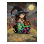 Halloween Hill Cute Gothic Witch and Cat Art Print
