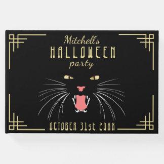 Halloween Hissing Cat Black Elegant Guestbook