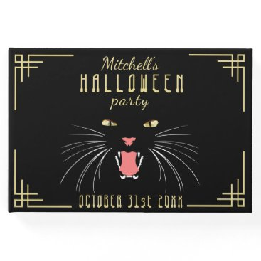 Halloween Themed Halloween Hissing Cat Black Elegant Guestbook