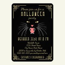 Halloween Hissing Cat Black Elegant Invitation