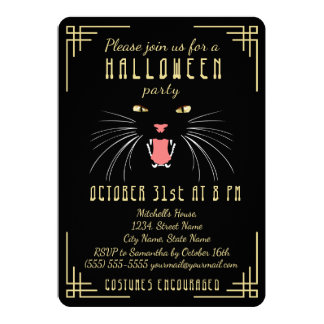 Halloween Hissing Cat Black Elegant Invitation