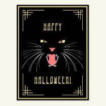Halloween Hissing Cat Black Elegant Postcard