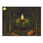 Halloween, hoguera, brujas, coven, magia, danza tarjeta postal