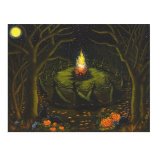 Halloween hoguera brujas coven magia danza tarjeta postal