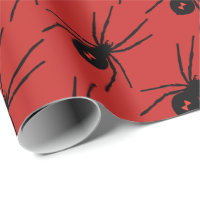 Halloween Holiday black spider tiled party wrap Wrapping Paper