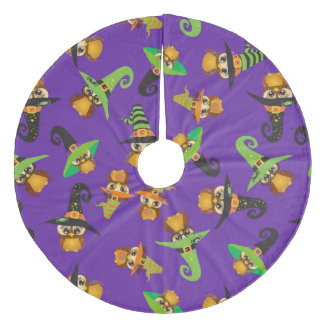 Halloween Holiday Custom Retro Owl Fleece Tree Skirt