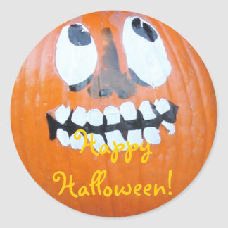 Halloween Holiday Pumpkin-head Fun! Round Stickers