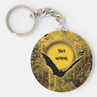 Halloween holidays bat spider web moon basic round button keychain