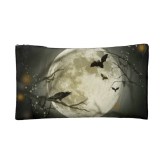 Halloween holidays mystery with fairy tale moon cosmetic bag