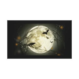 Halloween holidays mystery with fairy tale moon canvas print