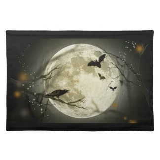 Halloween holidays mystery with fairy tale moon place mat
