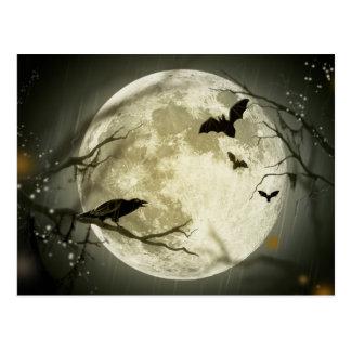 Halloween holidays mystery with fairy tale moon postcard