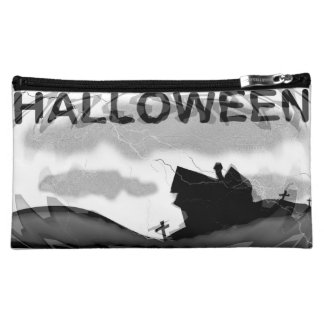 Halloween Home on Hill Cosmetic Bag