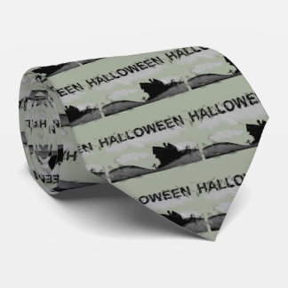 Halloween Home on Hill Tie
