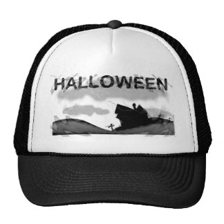 Halloween Home on Hill Trucker Hat