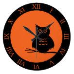 Halloween Hoot Owl Wallclocks