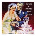 "Halloween Horror Bride & Doom Undying Love Wedding 5.25"" Square Invitation Card"