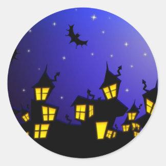 Halloween horror City Classic Round Sticker