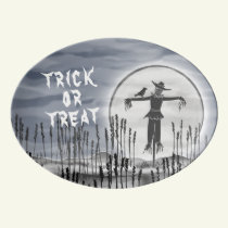 Halloween Horror Creepy Scarecrow Porcelain Serving Platter