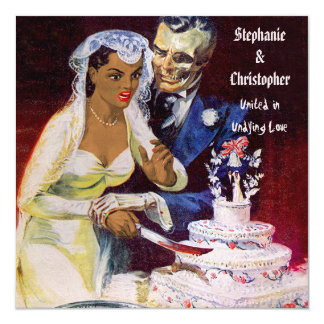Halloween Horror Ethnic Bride and Doom Wedding Card
