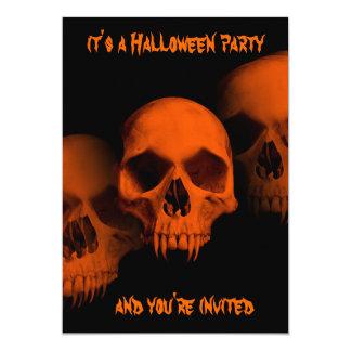Halloween horror fanged skulls in black and orange 5x7 paper invitation card