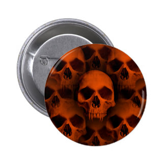 Halloween horror fanged skulls in black and orange pin