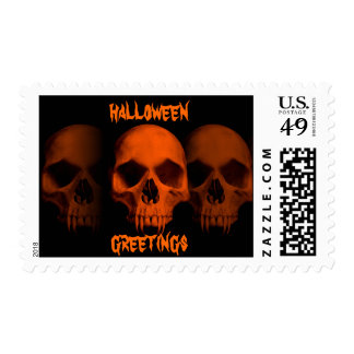 Halloween horror fanged skulls postage