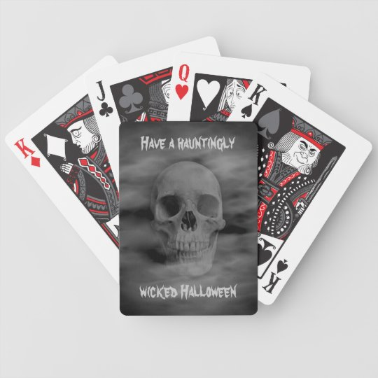 Halloween horror ghostly skull bicycle playing cards