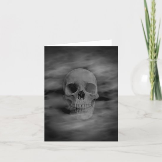 Halloween horror ghostly skull blank card