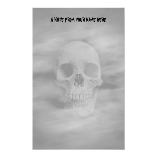Halloween horror ghostly skull custom stationery