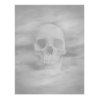 Halloween horror ghostly skull pale background flyer