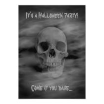 Halloween horror party ghostly skull invitation