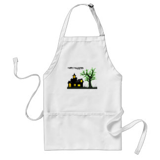 Halloween House and Green Tree Adult Apron