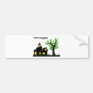 Halloween House and Green Tree Car Bumper Sticker