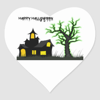 Halloween House and Green Tree Heart Sticker