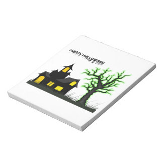 Halloween House and Green Tree Notepad