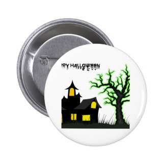 Halloween House and Green Tree Pinback Button