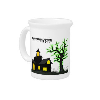 Halloween House and Green Tree Pitcher
