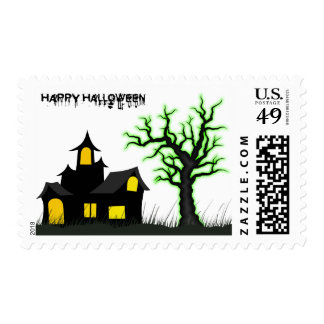 Halloween House and Green Tree Postage Stamp