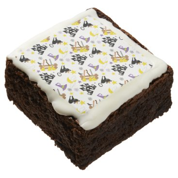 Halloween Themed Halloween House Black Cat Witch's Brooms and Hat Chocolate Brownie